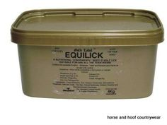Gold Label Equilick A nutritional conveniently sized stable lick that is suitable for use all year round Contains bio-available sulphur molasses yeast and minerals.