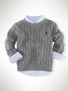Classic Cable Crewneck - Sweaters   Infant Boy (9M-24M) - RalphLauren.com