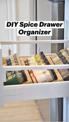 Diy Kitchen Storage, Kitchen Drawer Organization, Diy Kitchen Cabinets, Diy Storage, Diy Organization, Kitchen Ideas, Extra Storage, Gray Cabinets, Kitchen Decorations Ideas