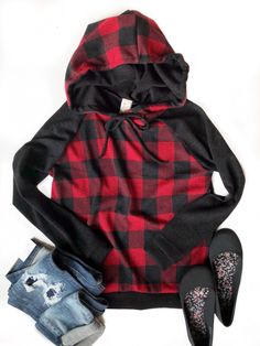 I've Got a Feeling Hoodie in Buffalo Plaid – Ivory Gem