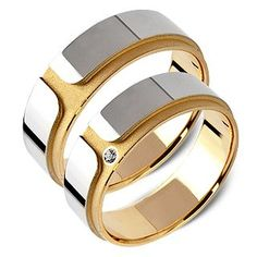 Pełna Elegancja - Żółte/Białe Złoto 14 k . Waga 7-9 g. Cena 1980 PLN /para. Be Elegant - Perfect 14 ct White + Yellow Gold + Ziconia Wedding Rings. Weight 7-9 g. Price - 1980 PLN Set of 2.