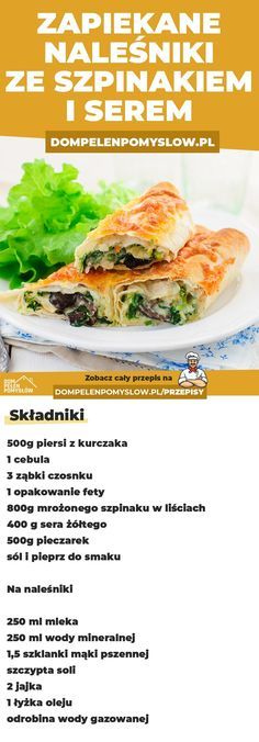 Baked pancakes with spinach and cheese - Jedzenie - Makaron Baked Pancakes, Cheese Pancakes, Clean Eating, Healthy Eating, Yummy Food, Tasty, Spinach And Cheese, Polish Recipes, Food Porn