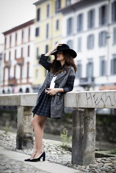 Walking on Naviglio wearing #aniyeby total look photo by Vincenzo Grillo http://www.joujouvilleroy.com/2014/12/eleonora-carisi-aniye-by-autunno-inverno-2014/