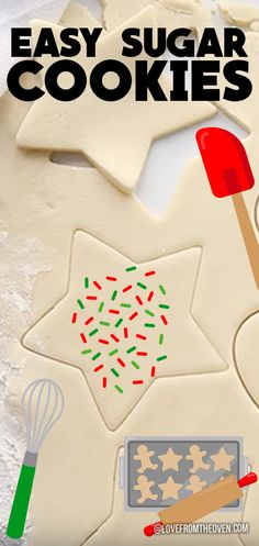 Easy roll out and cut out sugar cookies. No dough chilling needed, cookies hold their shape when baked. Great Christmas cookies. #sugarcookies #cutoutcookies #rolloutcookies #christmascookies #cookies #recipes #dessert #baking #christmas #lftorecipes