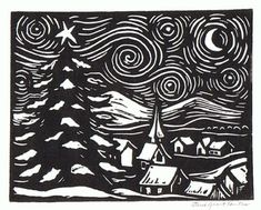 A linoleum block print that I am using for some of my Christmas cards. The hills in the background are the mountains that are part of t...