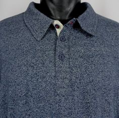 NWT FIVE FOUR CLUB Polo Shirt Men's XXL Heather Blue Long Sleeve Made in USA NEW #FiveFour #PoloRugby