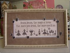 Beans by Plum Street Samplers, stitched by Kay and framed by Jill Rensel ♥ brilliant ♥