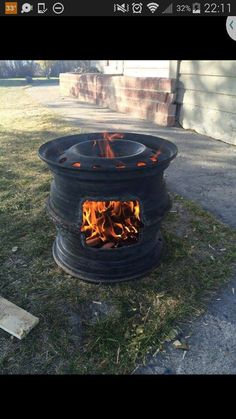 Fire pit made out of tire rims...brilliant!