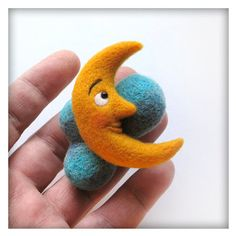 Crescent Moon with Clouds Brooch Needle Felted by DaddyWool