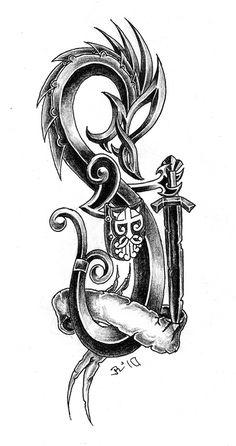 dragon warrior by on DeviantArt Viking Dragon, Dragon Warrior, Celtic Dragon, Celtic Art, New Tattoos, Tribal Tattoos, I Tattoo, Cross Tattoos, New Movies To Watch