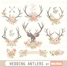 """Antlers clipart: """"WEDDING ANTLERS CLIPART"""" with flower antlers clip art, rustic antler clip art, pink flowers, 13 images, 300 dpi, png files"""