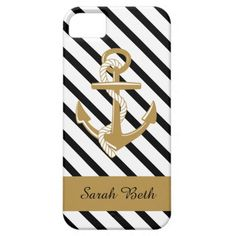 Personalized Nautical iPhone Case, Gold Anchor, Black & White Stripes, add your name to the matching Gold banner; Customize to choose any type of phone case, iPad, or iPod Cover