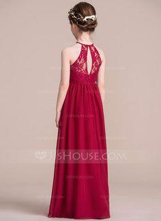 A-Line/Princess Scoop Neck Floor-Length Zipper Up Spaghetti Straps Sleeveless No Burgundy General Chiffon Junior Bridesmaid Dress