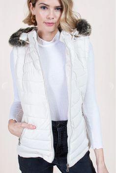 White Puffer Vest with Detachable Fur Hood – Melissa Jean Boutique White Puffer Vest, Pearl White, Winter Jackets, Fur, Boutique, Fashion, Winter Coats, Moda, La Mode