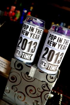 Fun poppers at a New Year's Eve party!  See more party ideas at CatchMyParty.com!  #partyideas #newyears
