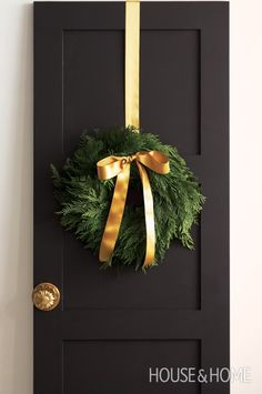 Plain Cedar Wreath | Photo Gallery: Give Your Home A Holiday Makeunder | House & Home | Photo by Angus Fergusson