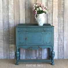 Custom Chalk Paint® mix of Aubusson Blue and Duck Egg Blue for a small table by Paint Me Twice
