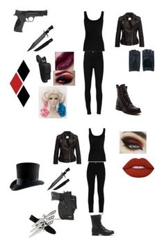 Harley Quinn inspired by themadhattersnightmare on Polyvore featuring Twenty, Frame, Frye, Smith & Wesson, Anine Bing, Zanellato, STELLA McCARTNEY, Holster and Lime Crime