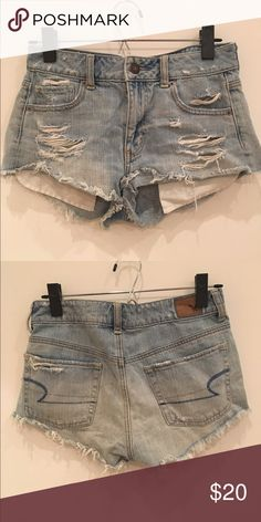 American Eagle mid rise cut offs Super cute mid to high rise short ripped cut offs. Worn in but still in good condition! American Eagle Outfitters Shorts Jean Shorts