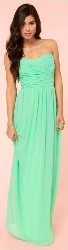 Strapless Mint Maxi Dress. Perfect for a formal!