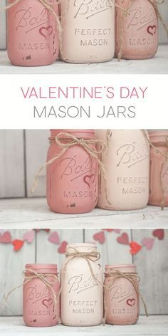These DIY shabby chic Valentine's Day mason jars say it all in understated elegance!