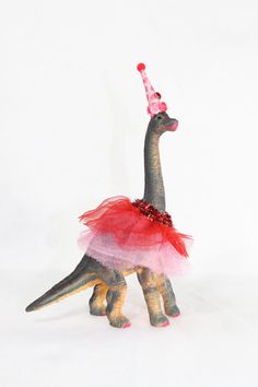 Party Animal Sally The Brontosaurus  painted by PaintedParade, $19.00  For Girls Dinosaur party.