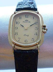 Fortis Vintage Uhr, Gehäuse: Stahl-gold, Band-Leder, 27x 32 mm - Swiss Made