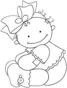 riscos desenhos pintura fraldas bebes ~ applique or let the kids color it Hand Embroidery Patterns, Applique Patterns, Embroidery Applique, Embroidery Designs, Colouring Pages, Coloring Books, Coloring Sheets, Copics, Digital Stamps