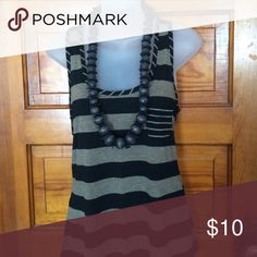 🚨SALE! Tan and Black Stripe Tank Tan and Black Stripe Tank 75% Polyester 35% Rayon.  Want the necklace?  I'll throw it in!! Tops Tank Tops