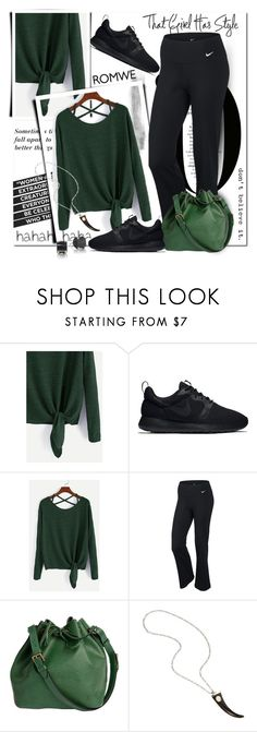 """""""ROMWE Dark Green Drop Shoulder Top"""" by wanda-india-acosta ❤ liked on Polyvore featuring NIKE and Louis Vuitton"""