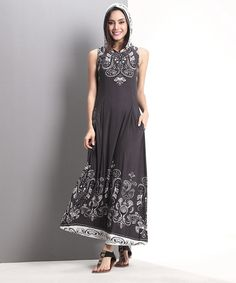 Look at this Charcoal Tapestry Hooded Maxi Dress on #zulily today!