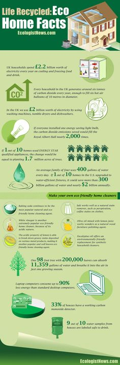 Quick Eco Home Facts - Did you want to make your home more eco friendly? Learn the facts about energy use in the average home. Then get tips to make your home more environmentally friendly, starting with a quick list of natural household cleaners. Recycling Facts, Eco Green, Tadelakt, Earthship, Eco Friendly House, Green Life, Alternative Energy, Green Building, Sustainable Living