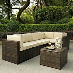 Palm Harbor 6-Piece Wicker Patio Sectional Seating Furniture Set