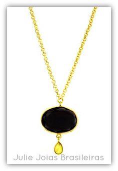 Pendente em ouro 750/18k, ônix e citrino (750/18k gold pendant with onyx and citrine)