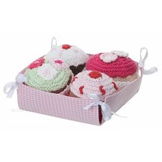 A box of crocheted cupcakes <3