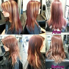 Cut and color by me!! #redhair #blondehighlights #modernsalon