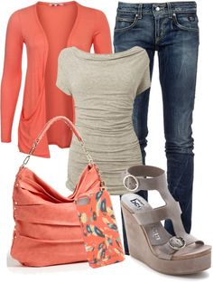 """peach and grey"" by kswirsding on Polyvore"