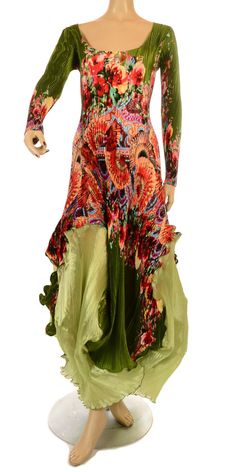 Mashiah Arrive Fantabulous Dramatic Green & Multicoloured Dress at idaretobe
