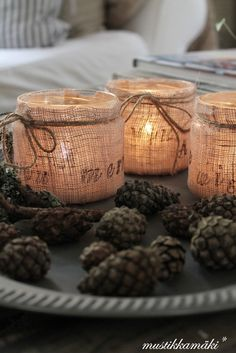 Baby Food Jars - burlap wrapped baby jars by Hicks. You had me at Burlp :) Country Christmas, All Things Christmas, Christmas Holidays, Christmas Decorations, Xmas, Burlap Christmas, Table Decorations, Christmas Ornaments, Baby Jars