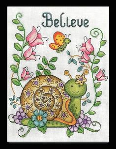 Cross Stitch Kit BELIEVE Design Works Snail by TheAngelsNook