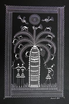 Must Art Gallery is the best among all art galleries in Delhi for Tribal Art Forms and Tribal and Folk Art Paintings in India. Visit our website and buy modern and contemporary art paintings. Madhubani Art, Madhubani Painting, Worli Painting, Fabric Painting, Indian Drawing, Monochromatic Art, Mural Art, Murals, Wall Art
