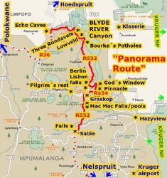 kruger park panorama route map - Google zoeken