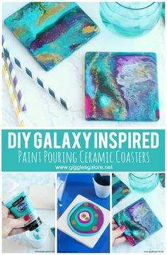 DIY Ceramic Coasters with Acrylic Pour Paint - . DIY Ceramic Coasters with Acrylic Pour Paint – Coaster Crafts, Diy Coasters, Ceramic Coasters, Making Coasters, Acrylic Pouring Techniques, Acrylic Pouring Art, Acrylic Art, Ceramic Painting, Diy Painting