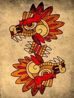 Like those simple shape/line and colorons of the aztec arts Aztec Tattoo Designs, Aztec Designs, Mayan Tattoos, Mexican Art Tattoos, Arte Latina, Aztecas Art, Motifs Aztèques, Aztec Symbols, Aztec Culture