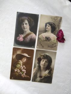 4 pieces beautiful antique European tinted photo-postcards with romantic ladies, flowers, hat, beautiful clothes Photo Postcards, Vintage Postcards, Vintage Photos, Beautiful Clothes, Beautiful Outfits, Hand Carved, Hand Painted, Boys Playing, Color Ring