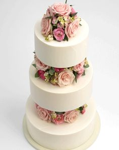 Cake, simple with fresh flowers between the layers