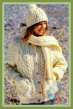 PDF Knitting Pattern For Ladies Classic Aran Cardigan and a Hat Mitten & Scarf Set for the Family