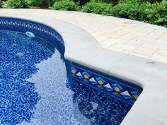 Comfortably sit on the edge of your pool with a custom radius cut full nosed blue stone coping Coping Stone, Swimming Pools Backyard, Pool Designs, Patio Design, Color Inspiration, Landscape Design, Activities, Outdoor Decor, Plants