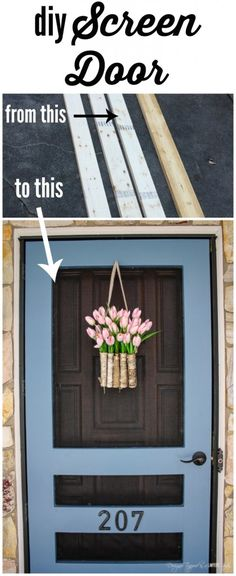 Much better looking screen door. Build your own DIY screen door with this amazing tutorial by Designer Trapped in a Lawyer's Body! It's prettier, sturdier and cheaper than what you can find in stores! Porte Diy, Diy Screen Door, Painted Screen Doors, Front Door With Screen, Wooden Screen, D House, Home Repairs, Diy Home Improvement, Home Renovation