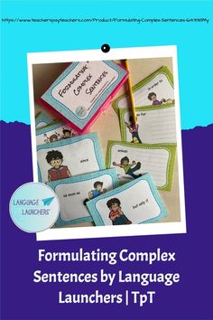 Practice higher levels of grammatical complexity by using specific words in a sentence about a picture. One form is for verbal responses and the other is for written formulations. Complex Sentences, Verbal Communication Skills, Hearing Impairment, English Language Learners, Language Development, Writing Practice, Speech And Language, Small Groups, Words
